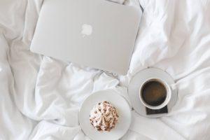 coffee apple laptop working